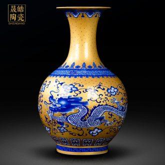 Jingdezhen ceramics cloisonne vase gold pupil classic dragon vase peony figure rich ancient frame porch place