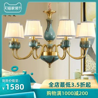 All copper chandelier light cloth art ceramic pendant country restores ancient ways the sitting room dining-room creative Jane beauty bedroom light of lamps and lanterns