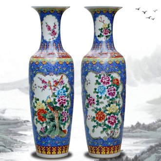 Jingdezhen ceramic hand-painted pastel of large vase home sitting room decoration in modern Chinese style hotel decoration furnishing articles