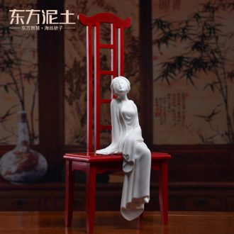 The east mud creative furnishing articles wind sitting room adornment handicraft ceramic study Chinese beauty/water lotus