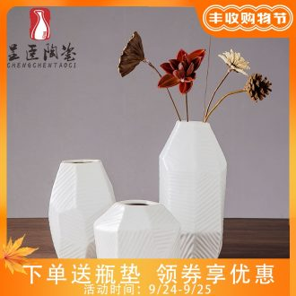 2019 new ceramic vase white contracted and contemporary sitting room TV creative zen dry place desk vases