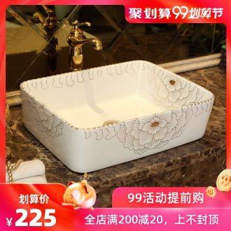 Spring rain jingdezhen ceramic rectangle bathroom stage basin sinks the sink basin bathroom decoration