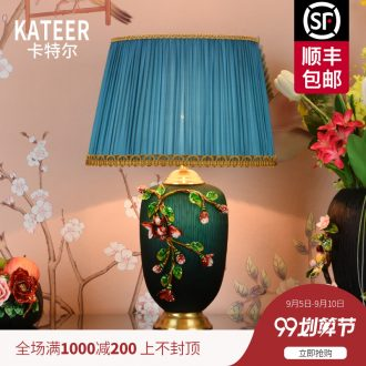 New Chinese style full copper ceramic desk lamp light colored enamel American restoring ancient ways is the sitting room of bedroom the head of a bed lamp high-grade villa lighting