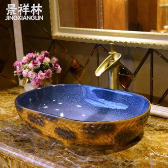 Package mail European big wax gourd jingdezhen art basin lavatory sink the stage basin & ndash; Leopard grain