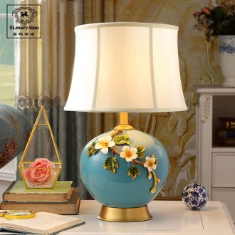 New Chinese pottery and porcelain enamel lamp sitting room the bedroom the head of a bed artical retro full copper household contracted lighting