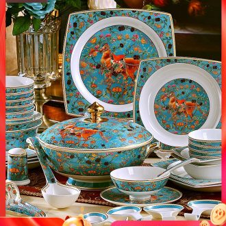 Fire color bone porcelain tableware suit dish bowl sets jingdezhen dishes European top-grade dishes suit household composition