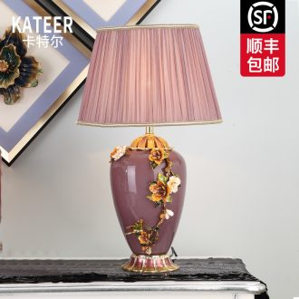 Cartel new Chinese style living room full of copper lamp type colored enamel porcelain lamp decoration of bedroom the head of a bed lamp