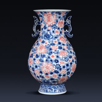 Jingdezhen ceramics imitation qianlong hand-painted ears of blue and white porcelain vase antique Chinese wine TV ark furnishing articles