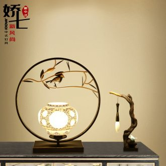 New Chinese style lamp lamp of bedroom the head of a bed creative decorative ceramic restoring ancient ways, wrought iron hotel contracted the lamps and lanterns that warm light