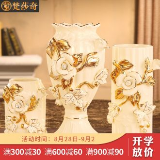Vatican Sally's European ceramic vase flower arranging household act the role ofing is tasted sitting room adornment furnishing articles of luxury dried flower vases, three-piece suit