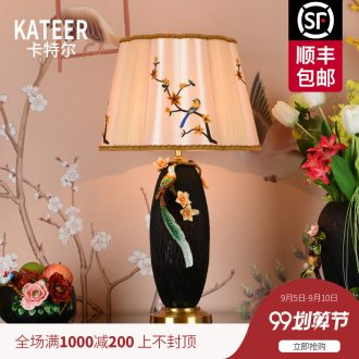 Colored enamel copper all ceramic desk lamp American restoring ancient ways is the sitting room the bedroom of new Chinese style villa luxury decorative lamps and lanterns of the head of a bed