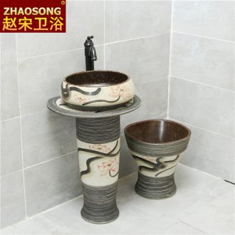 Northern Europe to restore ancient ways household balcony pillar lavabo basin ceramic art creative toilet lavatory floor