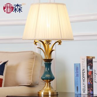 American simple pure copper ceramic desk lamp lamp of bedroom the head of a bed new romantic and warm European style living room full of copper lamps and lanterns