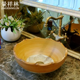 Package mail petals jingdezhen art basin modelling lavatory basin on hand & ndash; Lotus carving