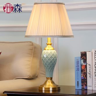 European contemporary and contracted ceramic desk lamp decoration warm sitting room creative fashion study all copper lamp of bedroom the head of a bed