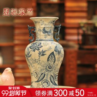 Murphy's ancient blue rhyme crack in new Chinese style glazed pottery porcelain vase restoring ancient ways design of blue and white porcelain decorative furnishing articles flower arranging