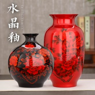 Big red vase of jingdezhen ceramics vase crystal glaze peony red vase festival gift porcelain furnishing articles