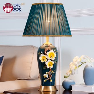 Large sitting room luxury colored enamel lamp full copper lamp of bedroom the head of a bed American creative decorative ceramic romantic warmth