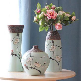 Art show contracted rural elegant hand-painted ceramic vase suit jingdezhen porcelain desktop furnishing articles in the living room