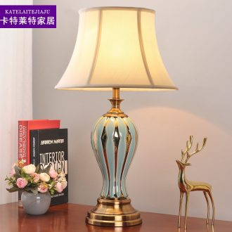 American bedroom lamp contracted individuality creative household berth lamp ceramic light luxury marriage room sitting room adornment lamps and lanterns
