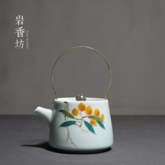YanXiang fang hand-painted loquat ceramic household filter teapot single girder pot pot set kung fu tea kettle