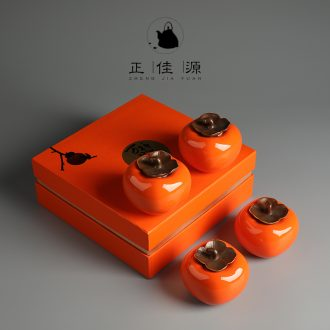 Ideas are good source persimmon tea caddy household ceramics storehouse seal storage POTS furnishing articles portable small POTS