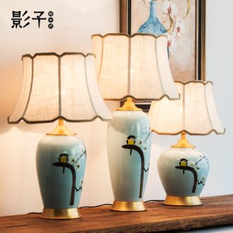 New Chinese style ceramic desk lamp sitting room bedroom berth lamp Chinese wind restoring ancient ways zen hand-painted decorative warm all copper lamp