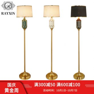 Light luxury american-style floor lamp of the head of a bed bedroom is contemporary and contracted sitting room ins Nordic warm wind vertical ceramic lamp