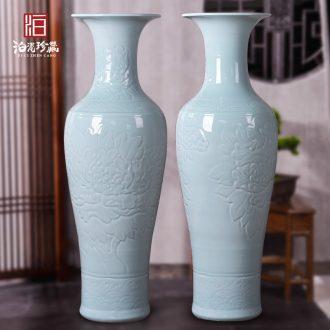 Jingdezhen ceramic sculpture big vase feng shui flower arranging furnishing articles villa living room floor large hotel opening gifts