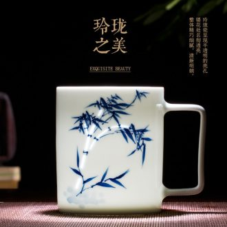 Jingdezhen blue and white and exquisite ceramic household cup tea cup suit men and women creative manual hand-painted tea set