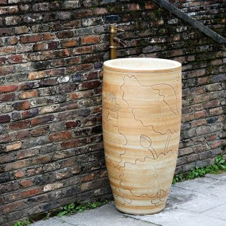 Jingdezhen ceramic basin art lavatory conjoined column one column pillar toilet lavabo lavatory balcony