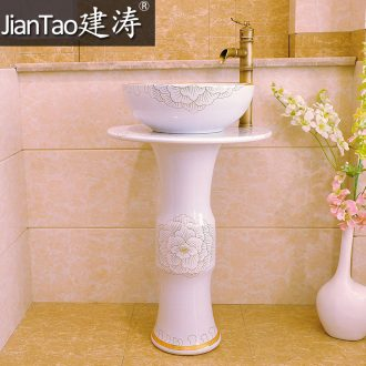 Post suit of jingdezhen ceramic art basin of the post - lavatory basin pillar three-piece - platinum peony