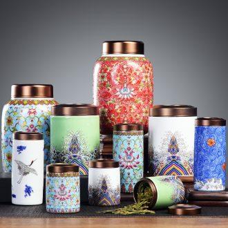 It still fang ceramic mini caddy trumpet tea box sealed cans travel home storage portable POTS of tea