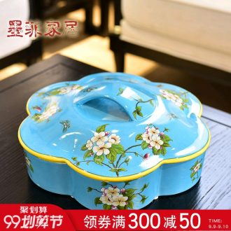 Murphy points of new Chinese style ceramic dry fruit bowl American country sitting room adornment with cover box of candy seeds receive a case