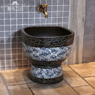 Chinese pottery and porcelain jingdezhen blue and white porcelain art mop pool mop pool vintage wash mop basin archaize mop pool