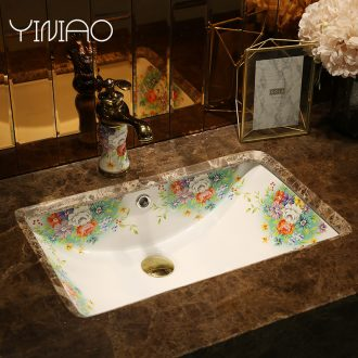 Million birds undercounter lavabo ceramic square rectangular flat embedded basin bathroom sinks basin