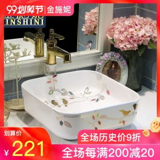 Gold cellnique stage basin square lavabo European art of the basin that wash a face basin ceramic wash basin exist