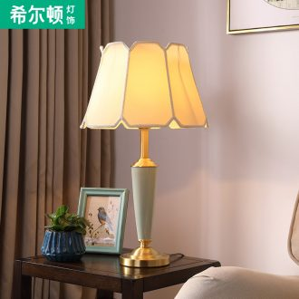 Hilton full copper American ceramic desk lamp bedroom berth lamp sitting room lamps and lanterns of contemporary and contracted creative sweet romance