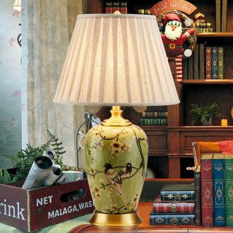 Ceramic lamp American retro sitting room bedroom nightstand lamp lights all copper decoration painting of flowers and birds study desk lamp