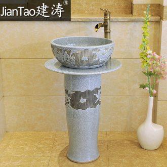 Jingdezhen ceramic art basin column set basin 】 【 lavatory basin post suit & ndash; Ice to crack the carriage