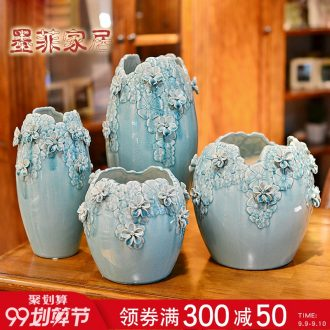 Murphy's hand knead relief ice to crack the ceramic vase large modern contracted sitting room TV cabinet decoration furnishing articles flower arranging