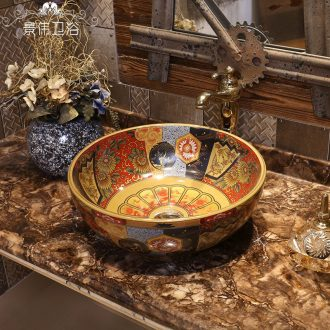 American retro stage basin art ceramic lavabo household lavatory archaize basin basin round the stage