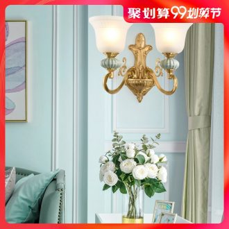 American whole copper ceramic wall lamp of the head of a bed european-style decorative light sitting room the bedroom of lamps and lanterns study corridor corridor wall lamp