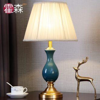 European fashion all copper ceramic desk lamp bedside lamp light sweet bedroom living room study study home decoration lamp