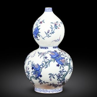 Jingdezhen ceramics imitation qianlong hand-painted gourd of blue and white porcelain vases, new Chinese style household wine decorations furnishing articles