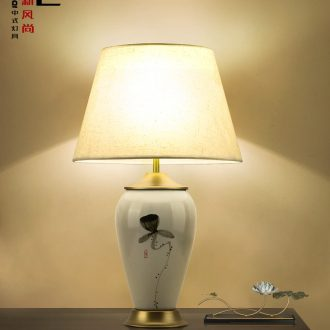 New Chinese style lamp lights sitting room tea table vase study of bedroom the head of a bed decoration lamp cloth art ceramic desk lamp to restore ancient ways