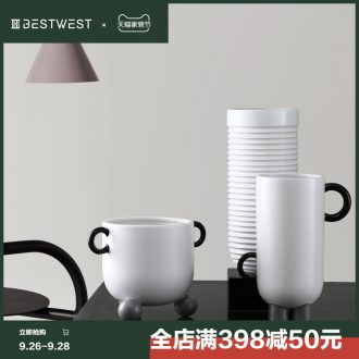 BEST WEST geometric creative ceramic vase soft adornment ornament light luxury furnishing articles sample room sitting room porcelain