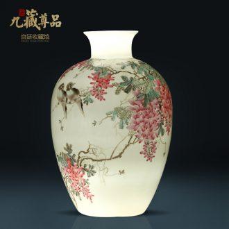Jingdezhen ceramics Chinese hand-painted thin foetus vase sitting room porch TV ark ikebana arts and crafts decorative furnishing articles