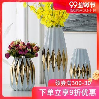 Jingdezhen porcelain white place golden vase Nordic ins large flowers sitting room decoration home decoration