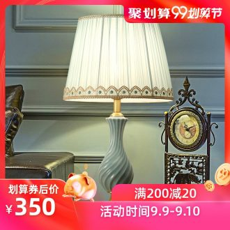 American whole copper light luxury ceramic desk lamp, LED the study of creative personality between example of bedroom the head of a bed chandeliers